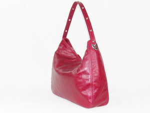 Embroidered Red Leather Slouchy Hobo side view
