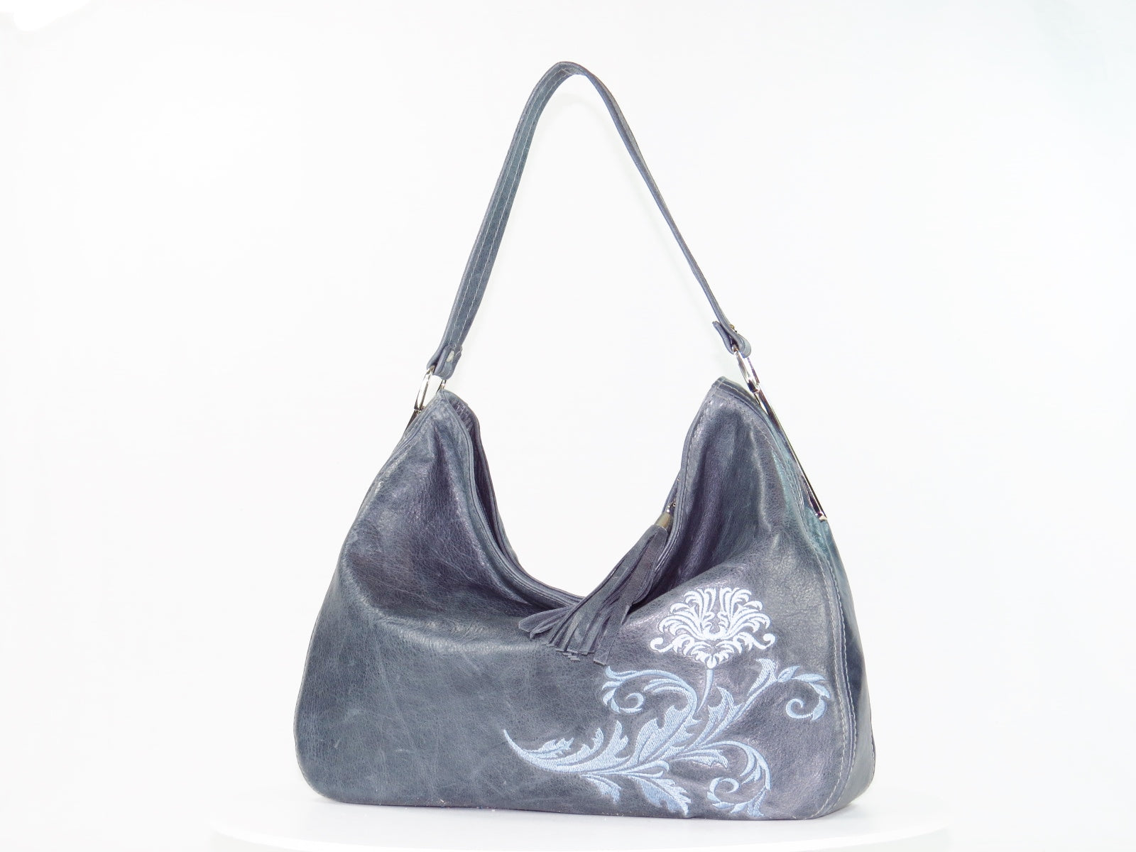 Embroidered Slate Gray Leather Slouchy Hobo Handbag a3272510f6610