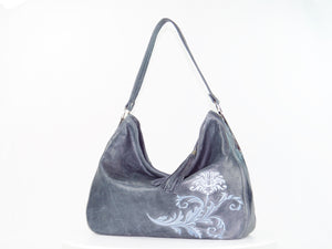 Embroidered Slate Gray Leather Slouchy Hobo Handbag