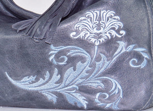 Embroidered Slate Gray Leather Slouchy Hobo Handbag embroidery close-up