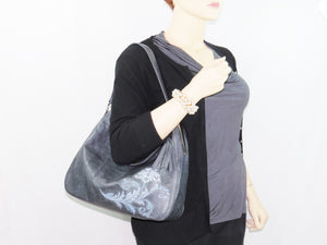 Embroidered Slate Gray Leather Slouchy Hobo Handbag model view