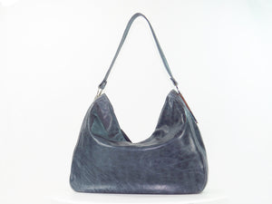 Embroidered Slate Gray Leather Slouchy Hobo Handbag rear view