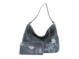 Embroidered Slate Gray Leather Slouchy Hobo with companion wallet