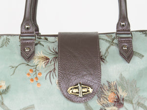 Embroidered Suede and Genuine Leather Weekender Carpet Bag details