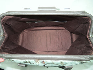Embroidered Suede and Genuine Leather Weekender Carpet Bag interior