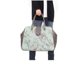 Embroidered Suede and Genuine Leather Weekender Carpet Bag model