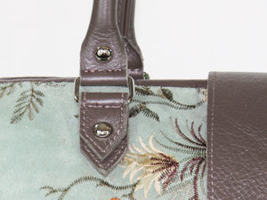 Embroidered Suede and Genuine Leather Weekender Carpet Bag strap details