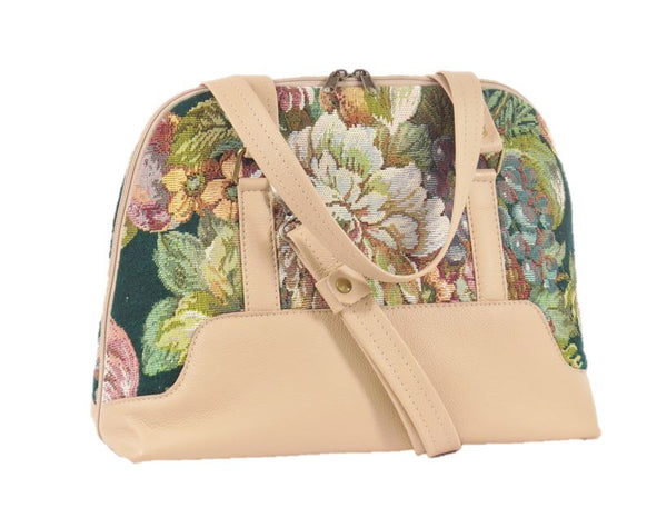 Emerald Garden Leather and Tapestry Bowler Bag