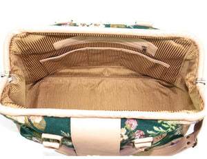 Emerald Garden Leather and Tapestry Carpet Bag interior view 2