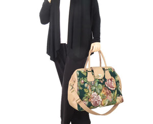 Emerald Garden Leather and Tapestry Carpet Bag model view
