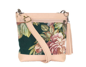 Emerald Garden Leather and Tapestry Crossbody Handbag