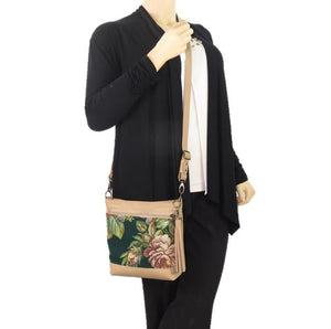 Emerald Garden Leather and Tapestry Crossbody Handbag model view
