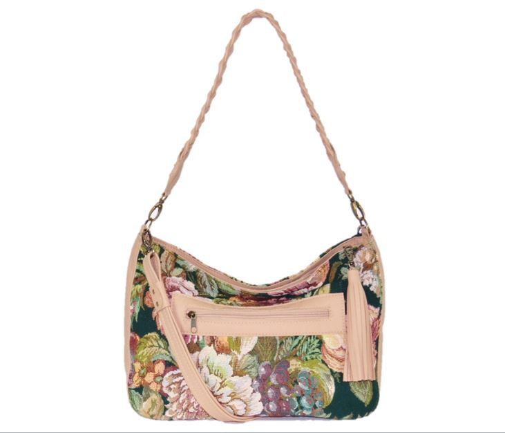 Emerald Garden Leather and Tapestry Slouchy Hobo Shoulder Bag