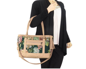 Emerald Garden Leather and Tapestry Tote back arm model view
