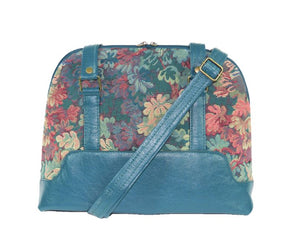 Enchanted Forest Leather and Tapestry Bowler Bag crossbody strap view