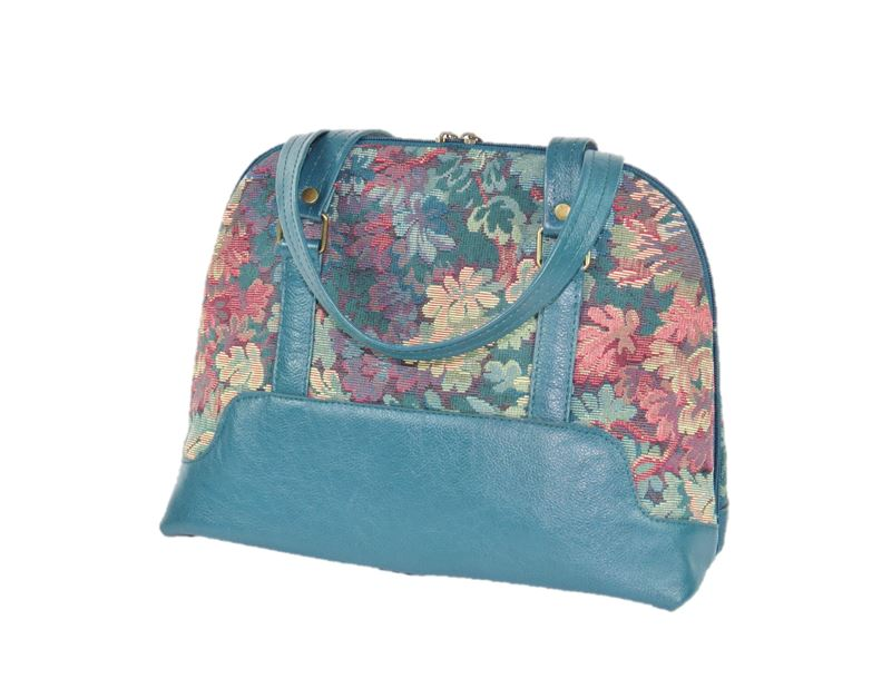 Enchanted Forest Leather and Tapestry Bowler Bag