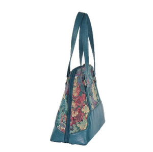 Enchanted Forest Leather and Tapestry Bowler Bag side view