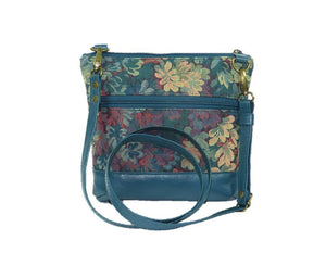 Enchanted Forest Leather and Tapestry Crossbody with strap view