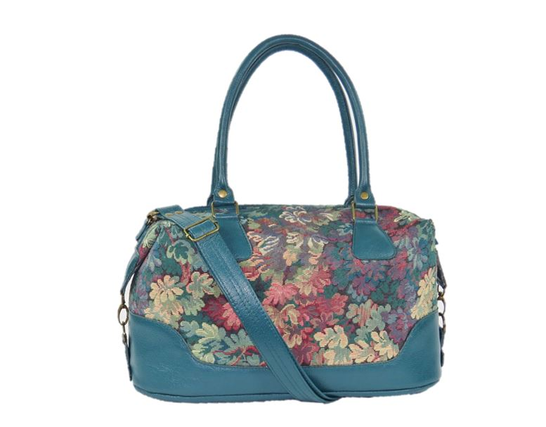 Enchanted Forest Leather and Tapestry Overnight Bag