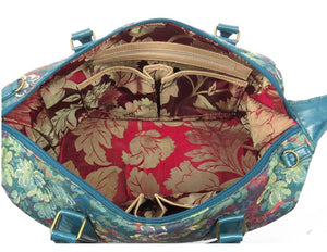 Enchanted Forest Leather and Tapestry Overnight Bag interior