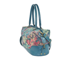 Enchanted Forest Leather and Tapestry Overnight Bag side view