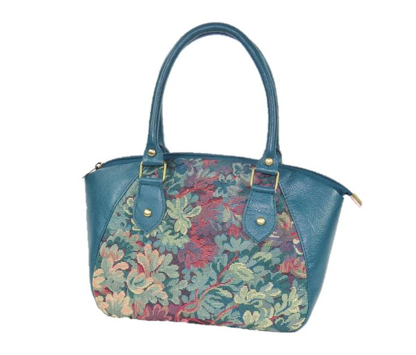 Enchanted Forest Leather and Tapestry Satchel