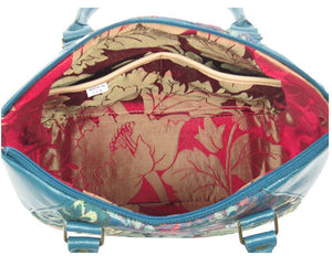 Enchanted Forest Leather and Tapestry Satchel interior pockets