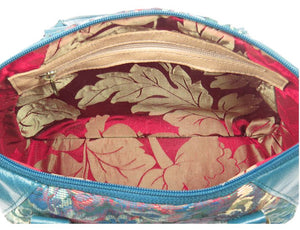 Enchanted Forest Leather and Tapestry Satchel interior zipper pocket