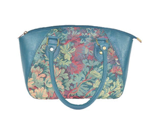 Enchanted Forest Leather and Tapestry Satchel relaxed handle view