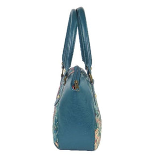 Enchanted Forest Leather and Tapestry Satchel side view