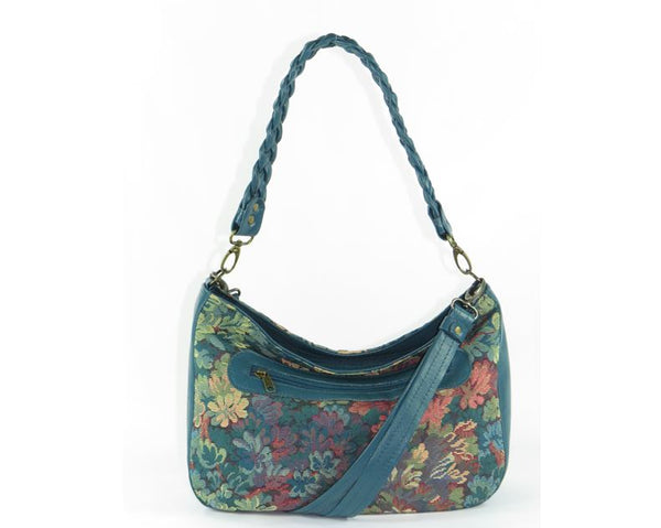 Enchanted Forest Leather and Tapestry Slouchy Hobo