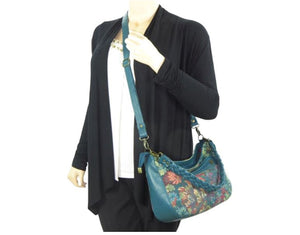 Enchanted Forest Leather and Tapestry Slouchy Hobo crossbody view