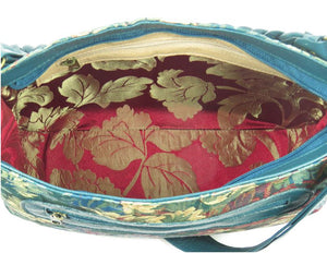 Enchanted Forest Leather and Tapestry Slouchy Hobo interior