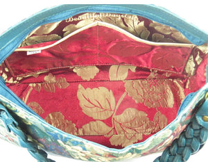 Enchanted Forest Leather and Tapestry Slouchy Hobo interior pockets view