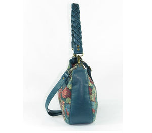 Enchanted Forest Leather and Tapestry Slouchy Hobo side view
