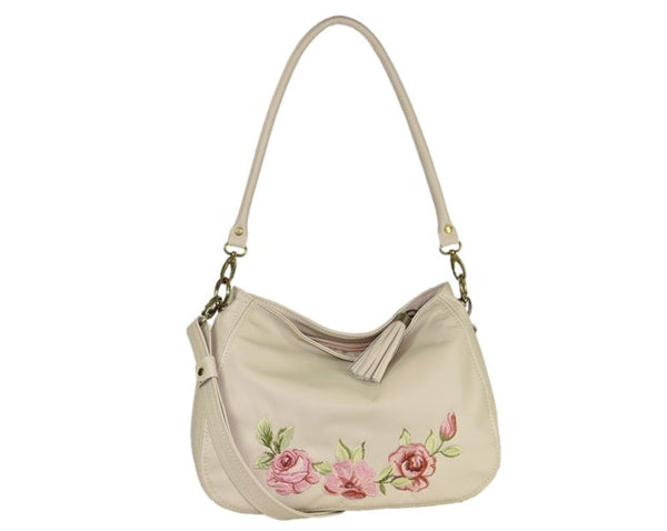 Faded Roses Beige Leather Slouchy Hobo Bag