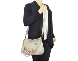 Faded Roses Beige Leather Slouchy Hobo Bag cross body view