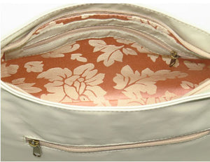 Faded Roses Beige Leather Slouchy Hobo Bag interior zipper pocket view