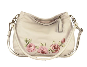Faded Roses Beige Leather Slouchy Hobo Bag relaxed handle view
