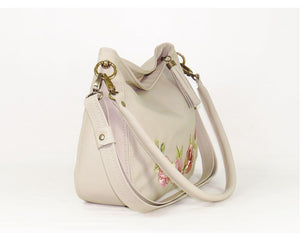 Faded Roses Beige Leather Slouchy Hobo Bag side view