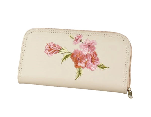 Faded Roses Beige Leather Wallet