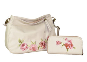 Faded Roses Beige Leather wallet with matching slouchy hobo