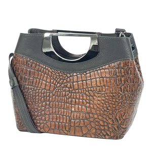 Fifth Avenue Dark Chocolate Brown and Alligator Embossed Cowhide Leather Satchel