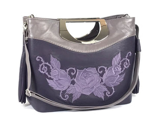 Fifth Avenue Embroidered Purple Roses Leather Handbag