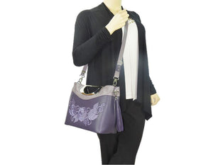 Fifth Avenue Embroidered Purple Roses Leather Handbag model view 2