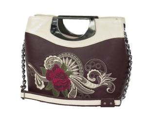 Fifth Avenue Embroidered Rose and Lace Leather Handbag