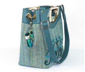 Fifth Avenue Green Tweed and Leather Handbag side view