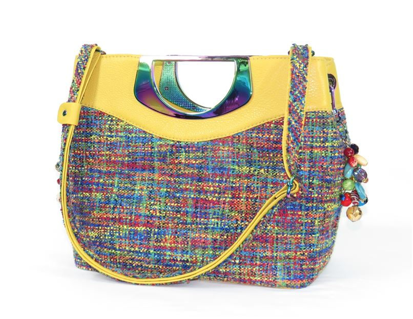 Fifth Avenue Yellow Leather and Rainbow Tweed Handbag