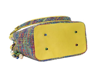 Fifth Avenue Yellow Leather and Rainbow Tweed Handbag bottom view