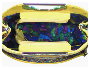 Fifth Avenue Yellow Leather and Rainbow Tweed Handbag interior view